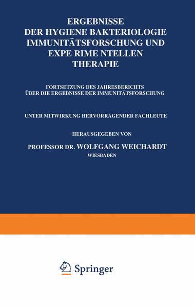 Ergebnisse der Hygiene Bakteriologie Immunitätsforschung und Experimentellen Therapie - Coverbild