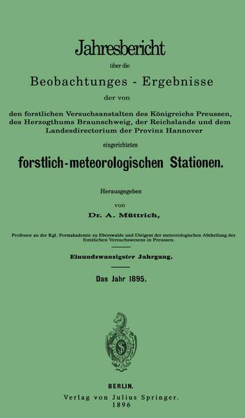Jahresbericht über die Beobachtungs-Ergebnisse - Coverbild