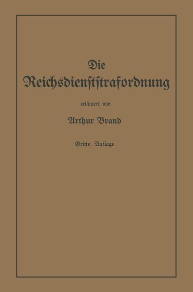 Die Reichsdienststrafordnung (RDStO) - Coverbild