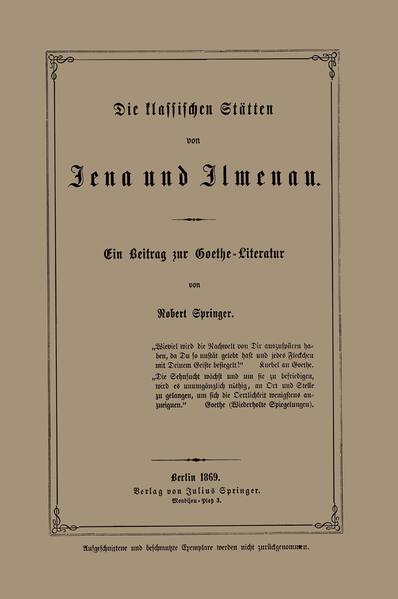 Die klassischen Stätten von Jena und Jlmenau - Coverbild