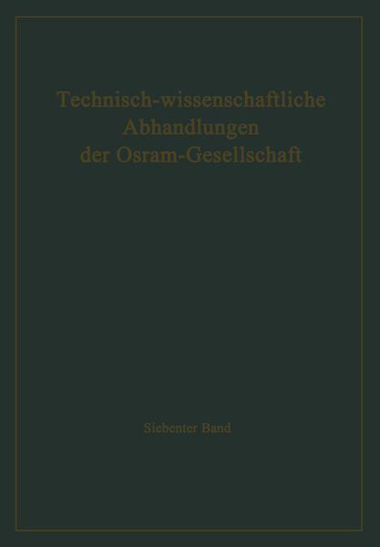 Technisch-wissenschaftliche Abhandlungen der Osram-Gesellschaft - Coverbild