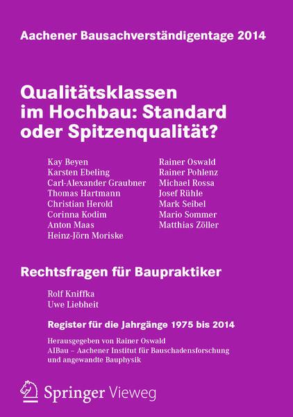 Aachener Bausachverständigentage 2014 - Coverbild