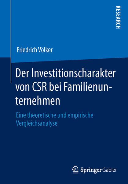 Der Investitionscharakter von CSR bei Familienunternehmen - Coverbild