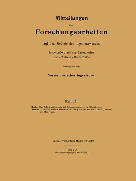 Mitteilungen über Forschungsarbeiten auf dem Gebiete des Ingenieurwesens - Coverbild