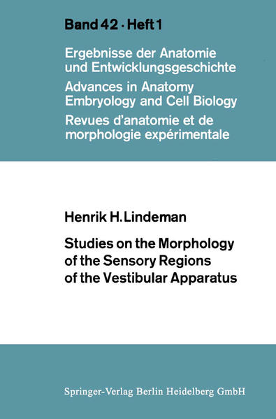 Studies on the Morphology of the Sensory Regions of the Vestibular Apparatus - Coverbild
