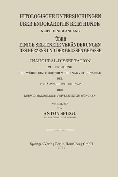 Histologische Untersuchungen Über Endokarditis Beim Hunde - Coverbild