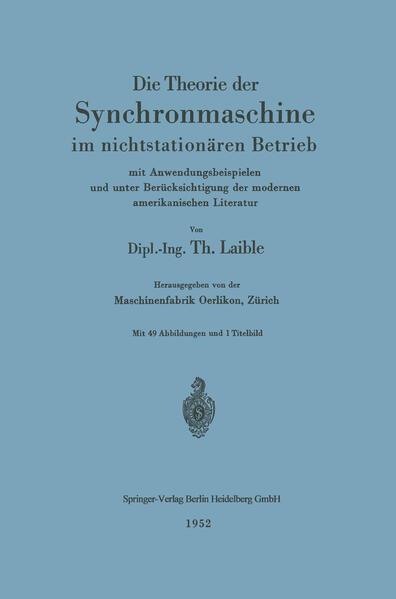Die Theorie der Synchronmaschine im nichtstationären Betrieb - Coverbild