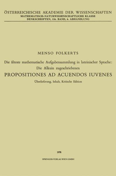 Die älteste mathematische Aufgabensammlung in lateinischer Sprache: Die Alkuin zugeschriebenen - Coverbild
