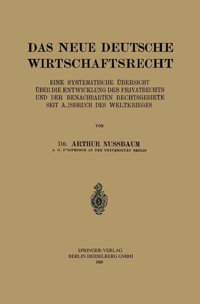 Das Neue Deutsche Wirtschaftsrecht - Coverbild