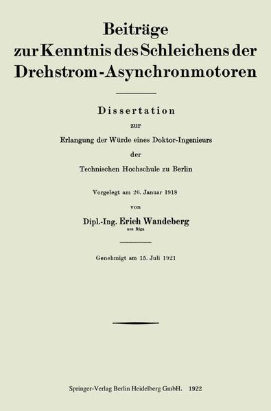 Beiträge zur Kenntnis des Schleichens der Drehstrom-Asynchronmotoren - Coverbild