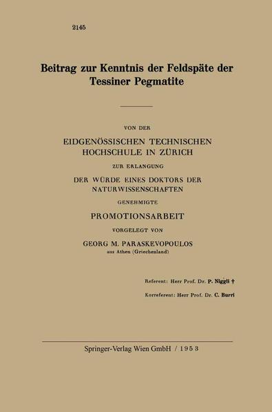 Beitrag zur Kenntnis der Feldspäte der Tessiner Pegmatite - Coverbild