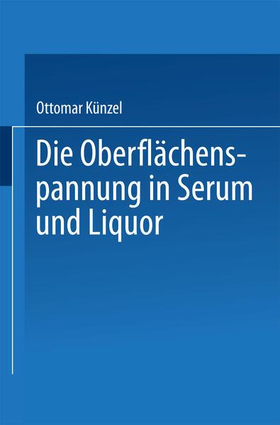 Die Oberflächenspannung in Serum und Liquor - Coverbild