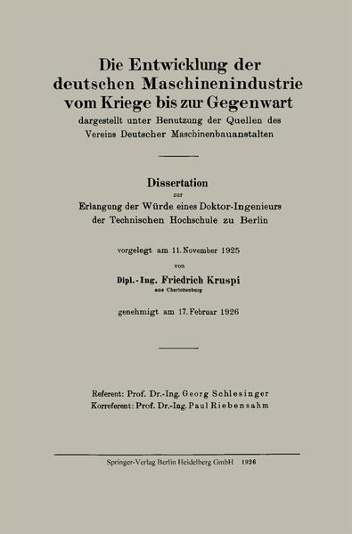 Die Entwicklung der deutschen Maschinenindustrie vom Kriege bis zur Gegenwart - Coverbild