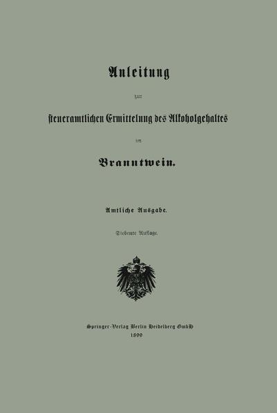 Anleitung zur steueramtlichen Ermittelung des Alkoholgehaltes im Branntwein - Coverbild