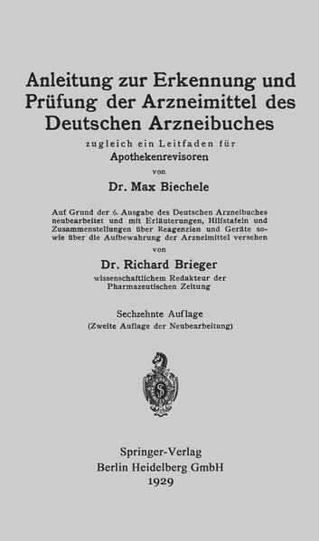 Anleitung zur Erkennung und Prüfung der Arzneimittel des Deutschen Arzneibuches - Coverbild