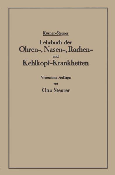 Lehrbuch der Ohren-, Nasen-, Rachen- und Kehlkopf-Krankheiten - Coverbild