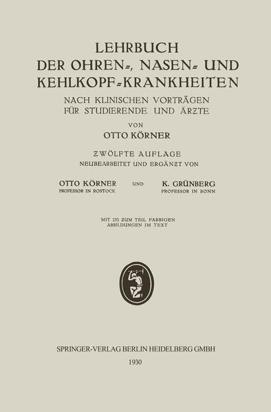 Lehrbuch der Ohren-, Nasen- und Kehlkopf-Krankheiten - Coverbild