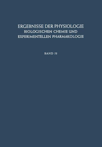 Ergebnisse der Physiologie, Biologischen Chemie und Experimentellen Pharmakologie - Coverbild