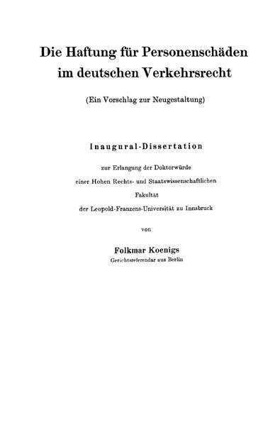 Die Haftung für Personenschäden im deutschen Verkehrsrecht - Coverbild