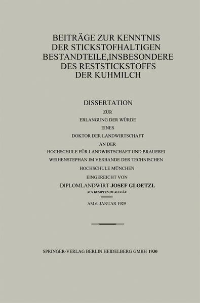 Beiträge zur Kenntnis der stickstoffhaltigen Bestandteile, insbesondere des Reststickstoffs der Kuhmilch - Coverbild