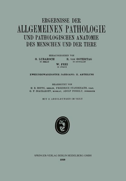 Ergebnisse der Allgemeinen Pathologie und Pathologischen Anatomie des Menschen und der Tiere - Coverbild