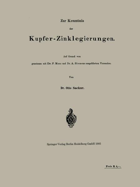 Zur Kenntnis der Kupfer-Zinklegierungen - Coverbild