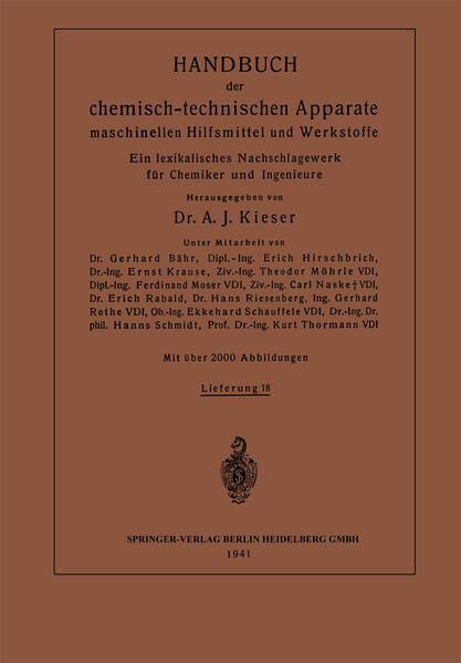Handbuch der chemisch-technischen Apparate maschinellen Hilfsmittel und Werkstoffe - Coverbild