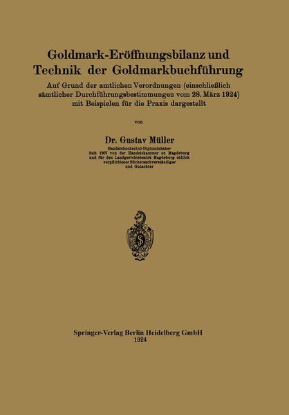 Goldmark-Eröffnungsbilanz und Technik der Goldmarkbuchführung - Coverbild