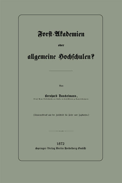 Forst-Akademien oder allgemeine Hochschulen? - Coverbild