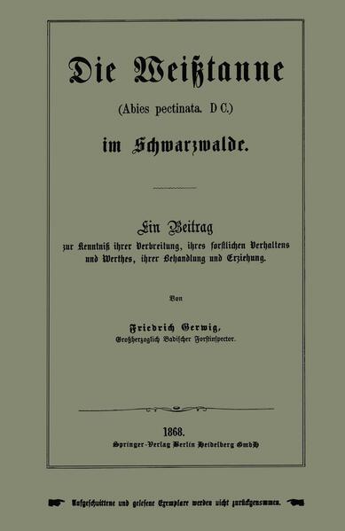 Die Weißtanne (Abies pectinata, DC.) im Schwarzwalde - Coverbild
