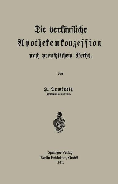 Die verkäufliche Apothekenkonzession nach preußischem Recht - Coverbild