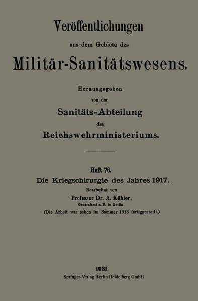 Die Kriegschirurgie des Jahres 1917 - Coverbild