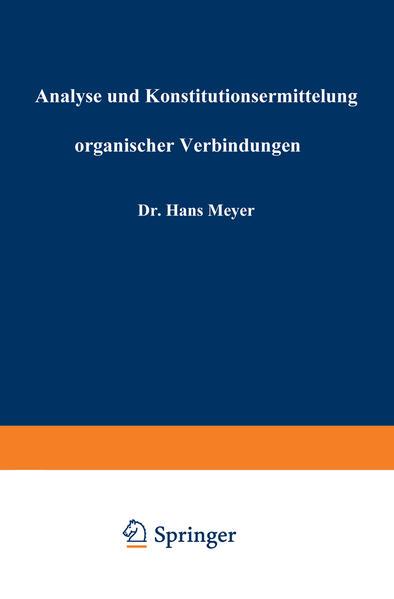 Analyse und Konstitutionsermittelung organischer Verbindungen - Coverbild
