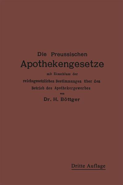 Die Preußischen Apothekengesetze - Coverbild