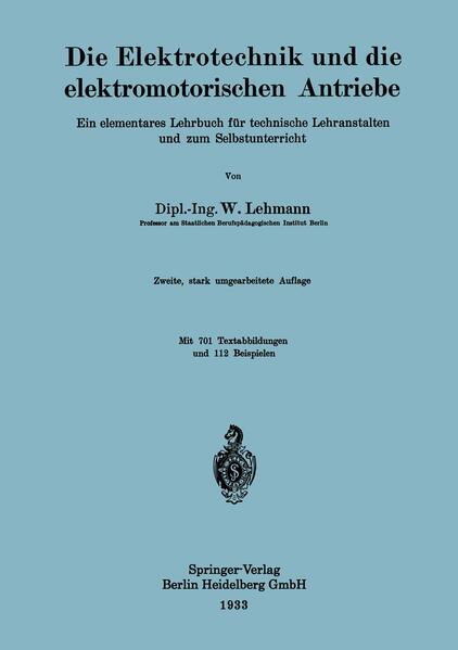 Die Elektrotechnik und die elektromotorischen Antriebe - Coverbild