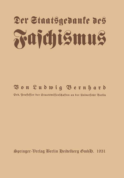 Der Staatsgedanke des Faschismus - Coverbild