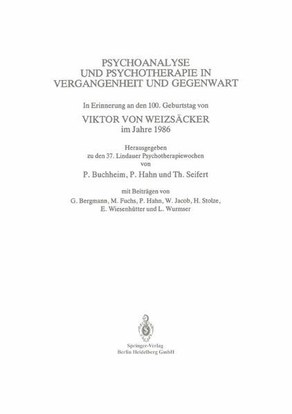 Psychoanalyse und Psychotherapie in der Vergangenheit und Gegenwart - Coverbild