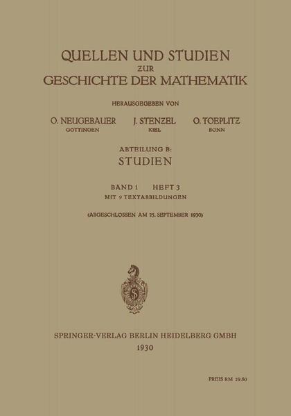 Quellen und Studien zur Geschichte der Mathematik - Coverbild