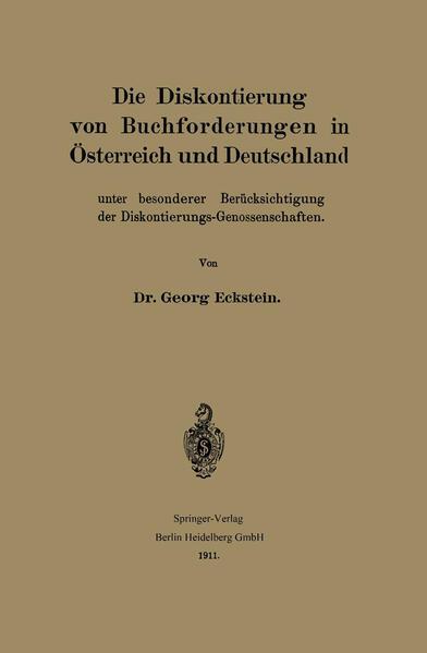 Die Diskontierung von Buchforderungen in Österreich und Deutschland unter besonderer Berücksichtigung der Diskontierungs-Genossenschaften - Coverbild
