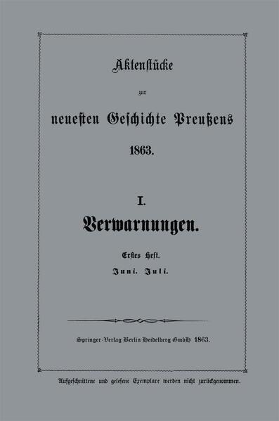 Aktenstücke zur neuesten Geschichte Preußens 1863 - Coverbild