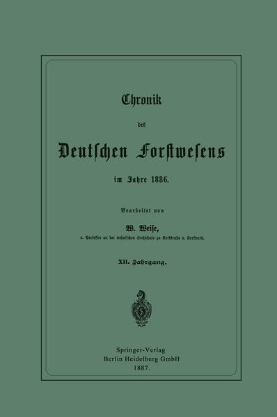 Chronik des Deutschen Forstwesens im Jahre 1886 - Coverbild