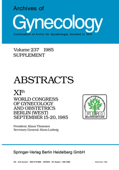 Archives of Gynecology - Coverbild