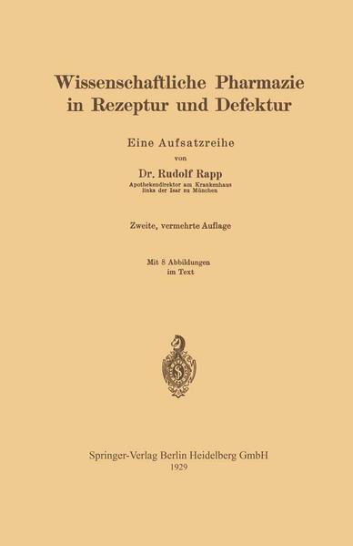 Wissenschaftliche Pharmazie in Rezeptur und Defektur - Coverbild