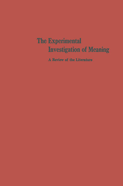 The Experimental Investigation of Meaning - Coverbild