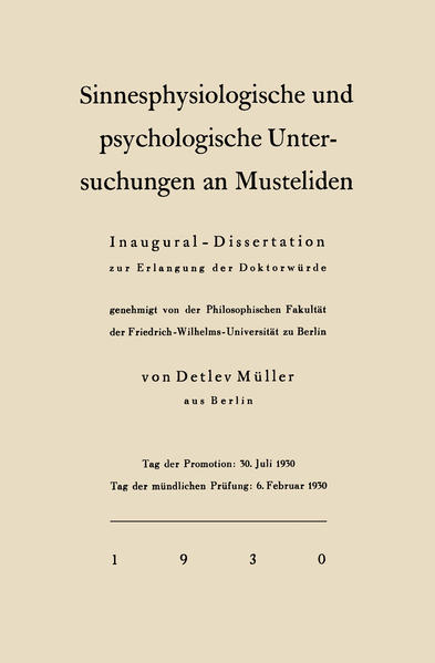 Sinnesphysiologische und psychologische Untersuchungen an Musteliden - Coverbild