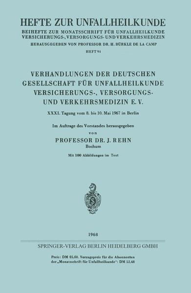 Verhandlungen der Deutschen Gesellschaft für Unfallheilkunde Versicherungs-, Versorgungs- und Verkehrsmedizin E. V. - Coverbild