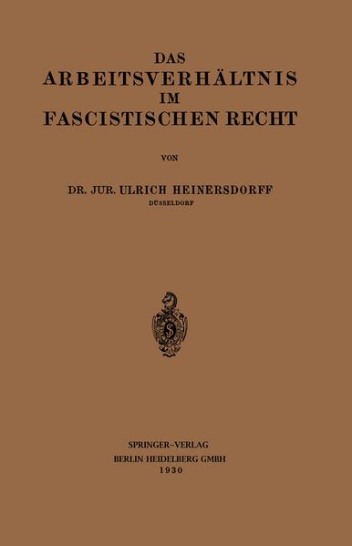 Das Arbeitsverhältnis im Fascistischen Recht - Coverbild