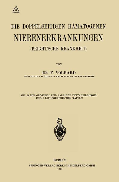 Die doppelseitigen hämatogenen Nierenerkrankungen (Brightsche Krankheit) - Coverbild