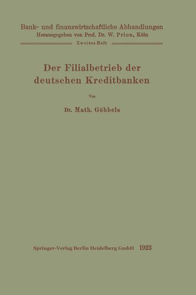 Der Filialbetrieb der deutschen Kreditbanken - Coverbild