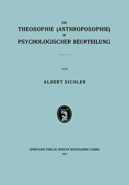 Die Theosophie (Anthroposophie) in Psychologischer Beurteilung - Coverbild